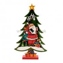LED drevená dekorácia na stôl, zelený stromček, farebný Mikuláš, 7 LED KAD 37