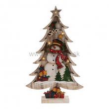 LED drevená dekorácia na stôl, stromček so snehom, farebný snehuliak, 7 LED KAD 38